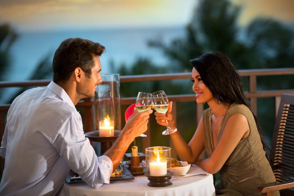 romantic couple toasting